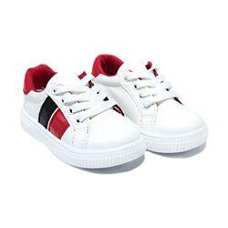 Adidasi albi cu insertie rosu cu negru