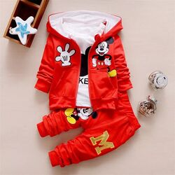 "Trening 3 piese ""Mickey"", hanorac cu urechi, bluza alba maneca lunga , pantaloni"