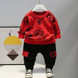 "Trening 2 piese ""Stiri mondene"", bluza rosie maneca lunga, pantaloni negri"