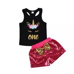 """Set aniversar 1 an """"Unicorn"""", maieu negru tip sport, pantaloni roz cu paiete"""