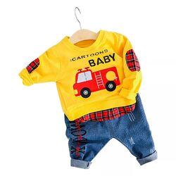 "Set 2 piese ""Masina de pompieri"", bluza galbena, blugi albastri"