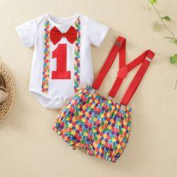 Set aniversar 1 an , body alb cu papion , pantaloni buline multicolore cu bretele rosii