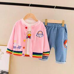 "Set 3 piese ""Happy day"", cardigan roz, bluza alba maneca lunga, blugi subtiri albastri"