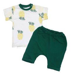 "Set vara 2 piese ""Mini ananas"", tricou alb, pantaloni scurti verzi"