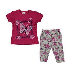 "Set vara 2 piese "" Fluturasul roz"", tricou si leggings gri inflorati"