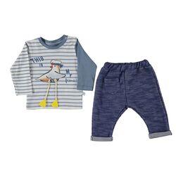 """Set 2 piese """"Pescarusul marinar"""", bluza in dungi, pantaloni albastri"""