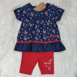 "Set 2 piese ""Lee Cooper"" , bluza tip rochita, motiv floral, leggings uni scurt"
