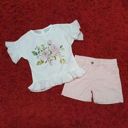 "Set vara 2 piese ""Stralucirea trandafirului"" , bluza alba vaporoasa, pantaloni scurti cu perlute"
