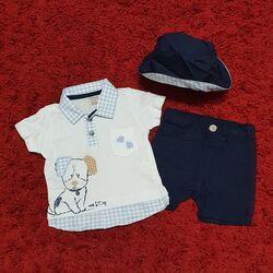 Set vara 3 piese , tricou tip camasa , pantaloni scurti si palarie bleumarin