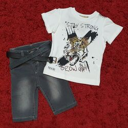 "Set vara  piese ""Urlet de tigru"", tricou alb, blugi scurti gri"