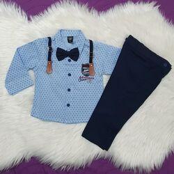 Set 2 piese, camasa bleu model stelute cu papion, pantaloni bleumarin cu bretele detasabile