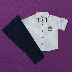 Set 2 piese, camasa dungulite verticale cu papion, pantaloni bleumarin