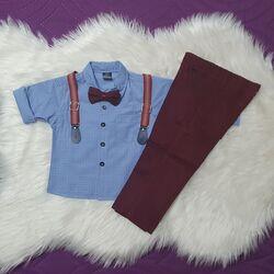 Set 2 piese, camasa albastra cu papion, pantaloni visinii cu bretele detasabile