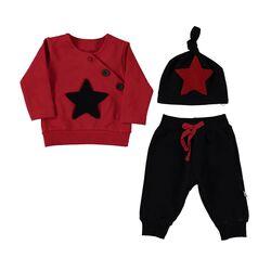 """Set 3 piese """"Star"""", bluza rosie, pantaloni si caciulita neagra"""