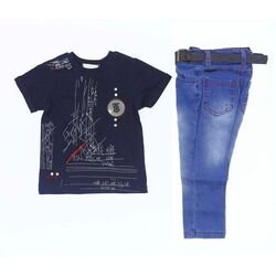"Set 2 piese ""Mesaje ascunse"", tricou bleumarin, blugi albastri, curea inclusa"