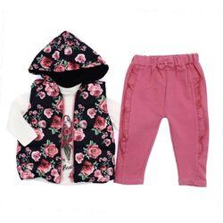 """Set toamna 3 piese """"Gradina de trandafiri"""", vesta cu gluga, bluza alba maneca lunga, pantaloni roz"""