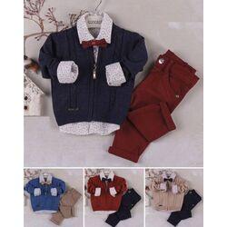 Set elegant 3 piese, pulover descheiat, camasa alba cu papion, pantaloni