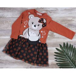 "Rochie maneca lunga "" Chic bear"", tull negru cu buline portocalii"