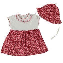 Set vara 2 piese, rochie rosie model floral si palariuta