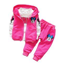 Trening Minnie 3 piese, vesta roz cu gluga, bluza alba maneca lunga si pantaloni roz